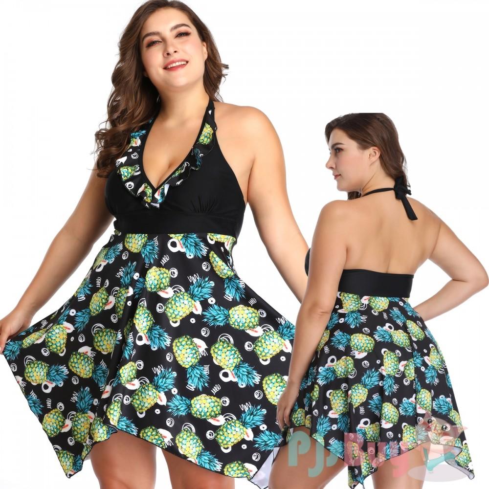 Handkerchief-Hem Swim Dress| Plus Size Swim Dresses