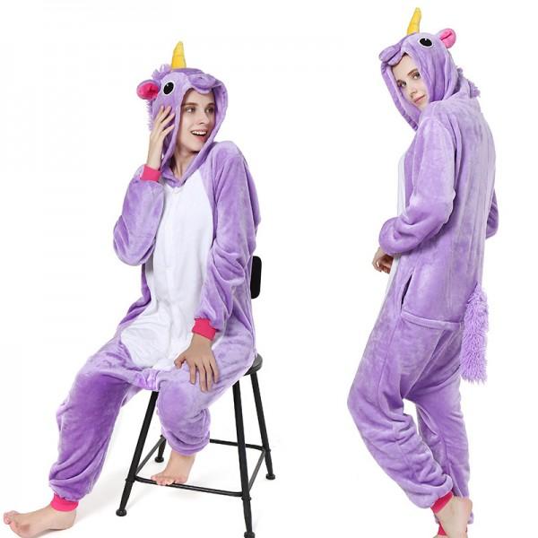 Purple Unicorn Adult Animal Onesie Pajamas Costume