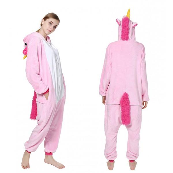 Pink Unicorn Adult Animal Onesie Pajamas Costume