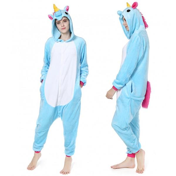 Blue Unicorn Adult Animal Onesie Pajamas Costume