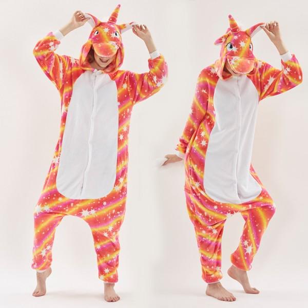Orange Star Unicorn Womens & Mens Animal Onesie Pajamas Costume