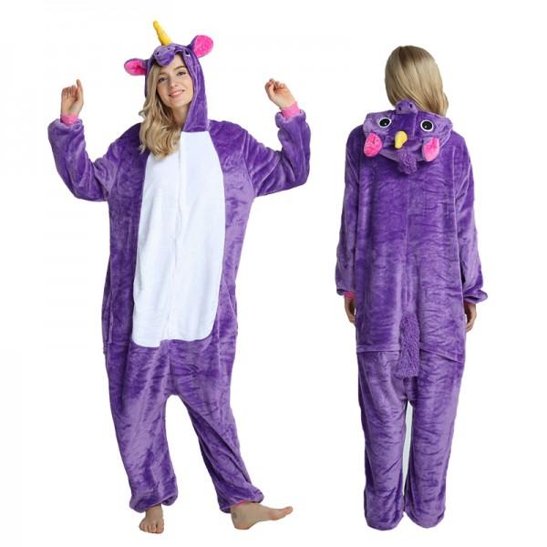 Purple Unicorn Womens & Mens Animal Onesie Pajamas Costume