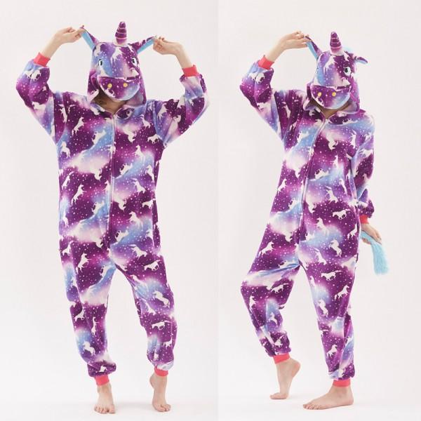Purple Unicorn Pattern Adult Animal Onesie Pajamas Costume