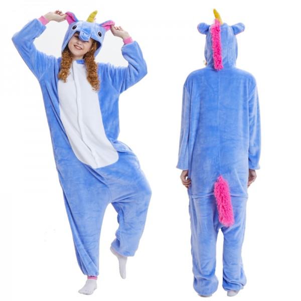Blue Unicorn Onesie for Adult Animal Onesie Pajamas Costume