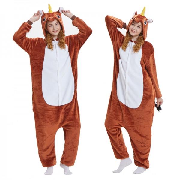Brown Unicorn Adult Animal Onesie Pajamas Costume