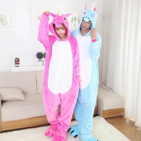 Rose & Blue Unicorn Adult Animal Onesie Pajamas Costume