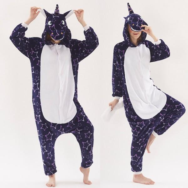 Purple Star Unicorn Womens & Mens Animal Onesie Pajamas Costume