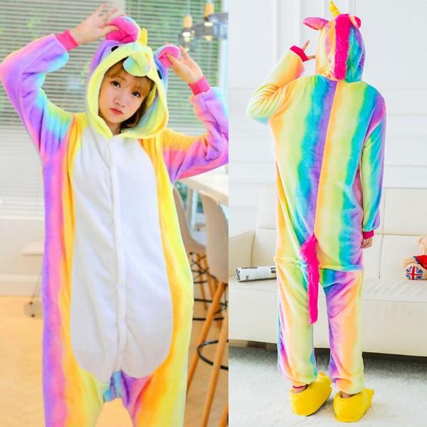 Rainbow Unicorn Adult Animal Onesie Pajamas Costume