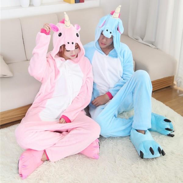 Pink & Blue Unicorn Adult Animal Onesie Pajamas Costume