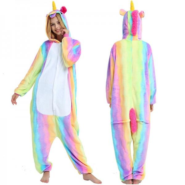 Rainbow Unicorn Womens & Mens Animal Onesie Pajamas Costume