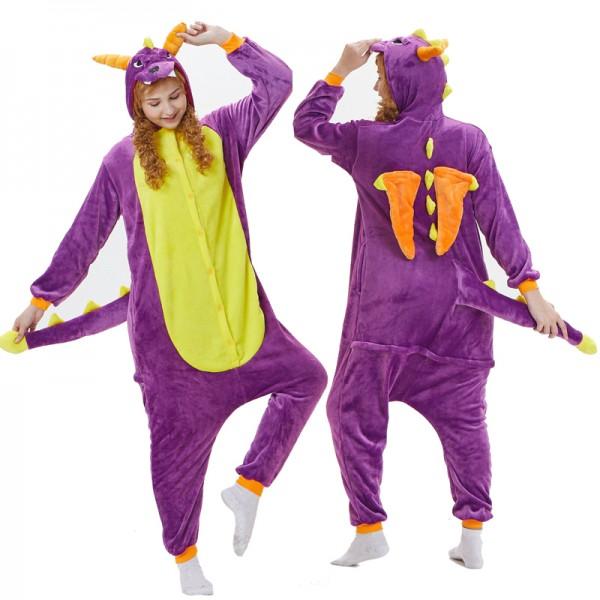 Purple Dragon Womens & Mens Animal Onesie Pajamas Costume