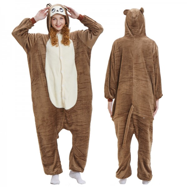 Brown Monkey Adult Animal Onesie Pajamas Costume