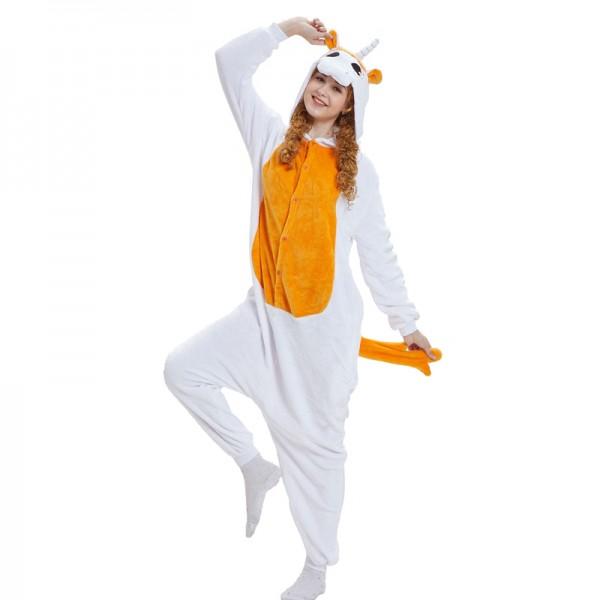 Orange Unicorn with Wings Adult Animal Onesie Pajamas Costume
