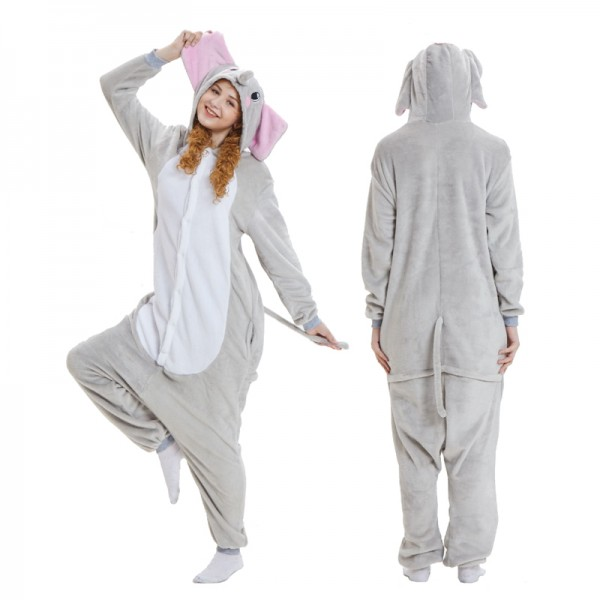 Grey Elephant Adult Animal Onesie Pajamas Costume