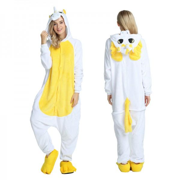 Yellow Unicorn with Wings Adult Animal Onesie Pajamas Costume
