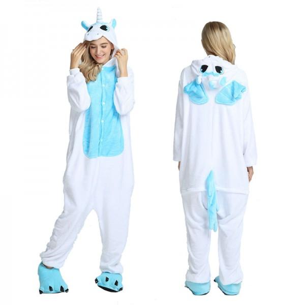 Blue Unicorn with Wings Adult Animal Onesie Pajamas Costume