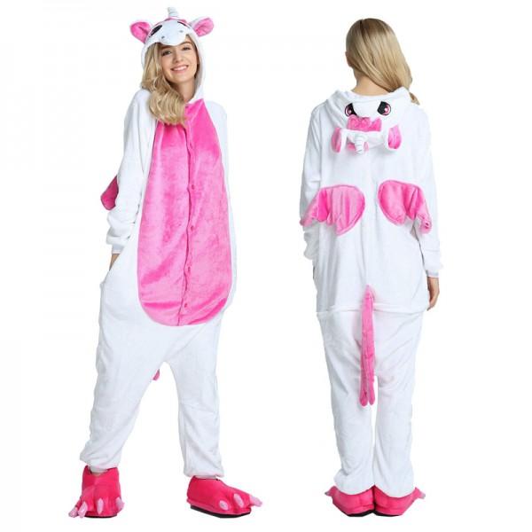 Rose Unicorn with Wings Adult Animal Onesie Pajamas Costume
