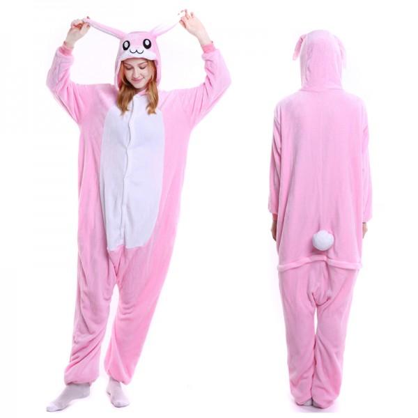 Pink Bunny Adult Animal Onesie Pajamas Costume