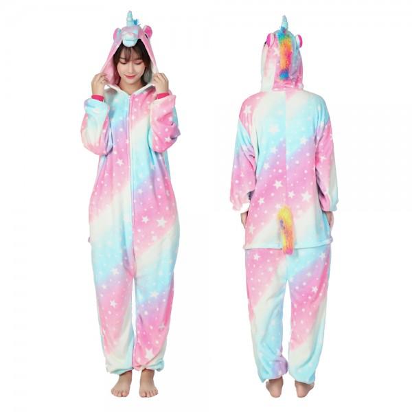 Rainbow Star Unicorn Onesie Pajamas Costumes Adult Animal Onesies Zip up