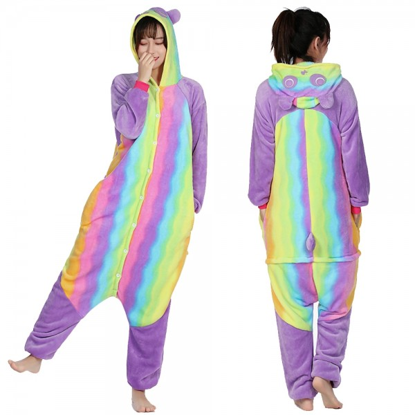 Rainbow Panda Onesie Pajamas Costumes Adult Animal Onesies Button Closure