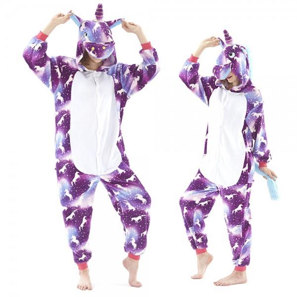 Purple Unicorn Pattern Onesie Pajamas Costumes Adult Animal Onesies Button Closure