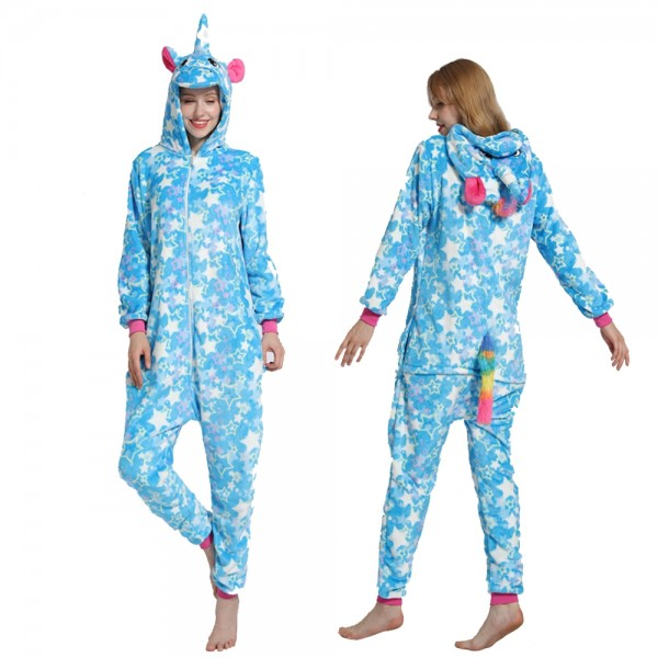 Blue Star Unicorn Onesie Pajamas Costumes Adult Animal Onesies Zip up