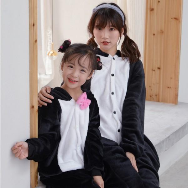 Black Cat Onesie Pajamas Costumes for Adult & Kids Animal Onesies