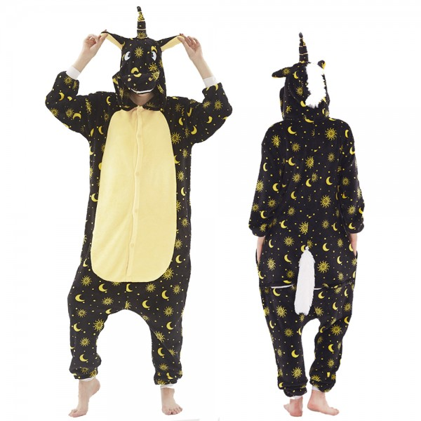 Black Unicorn Onesie Pajamas Costumes Adult Animal Onesies Button Closure