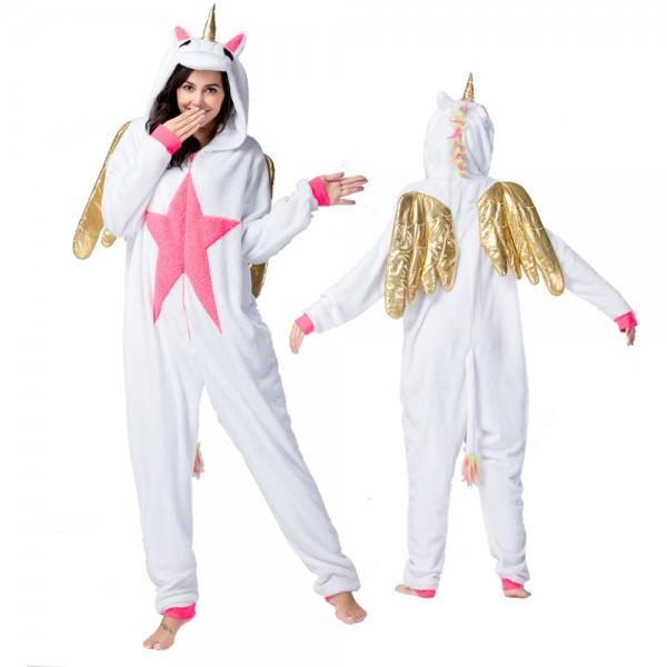 White Unicorn with Gold Wings Onesie Pajamas Costumes Adult Animal Onesies Zip up