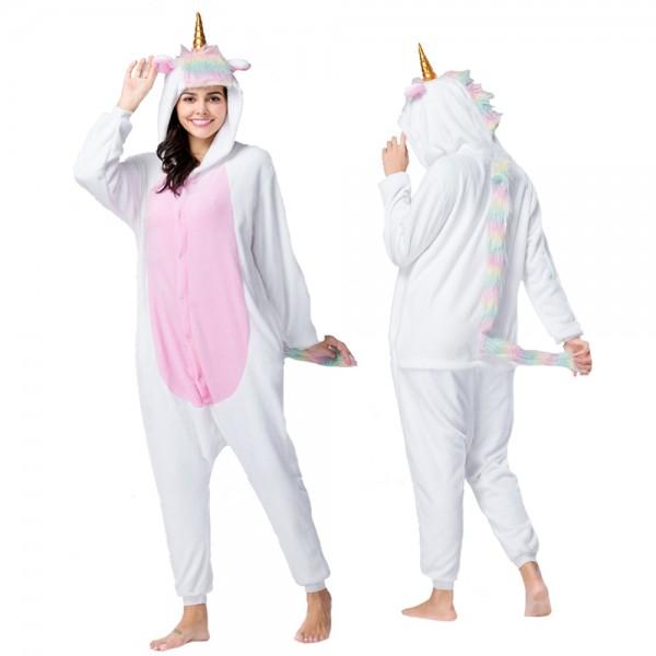New White Unicorn Onesie Pajamas Costumes Adult Animal Onesies Button Closure
