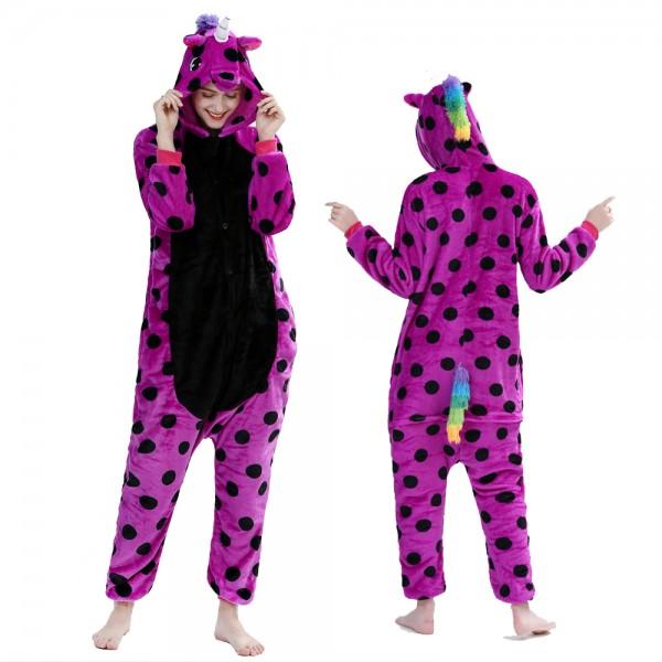 Purple Spot Unicorn Onesie Pajamas Costumes Adult Animal Onesies Button Closure