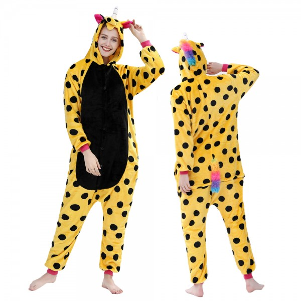 Yellow Spot Unicorn Onesie Pajamas Costumes Adult Animal Onesies Button Closure