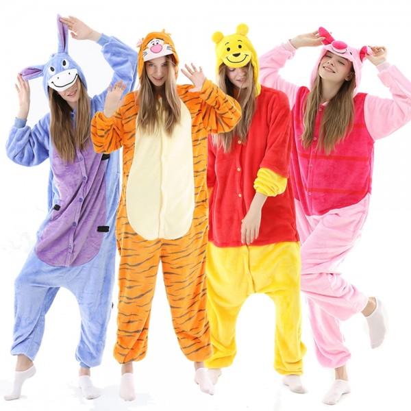 Winnie the Pooh Bear Tigger Eeyore Piglet Onesie Pajamas Halloween Costumes