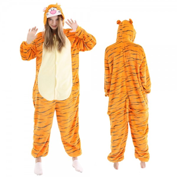 Tigger Onesie Pajamas Adult Animal Onesies Winnie the Pooh Halloween Costumes