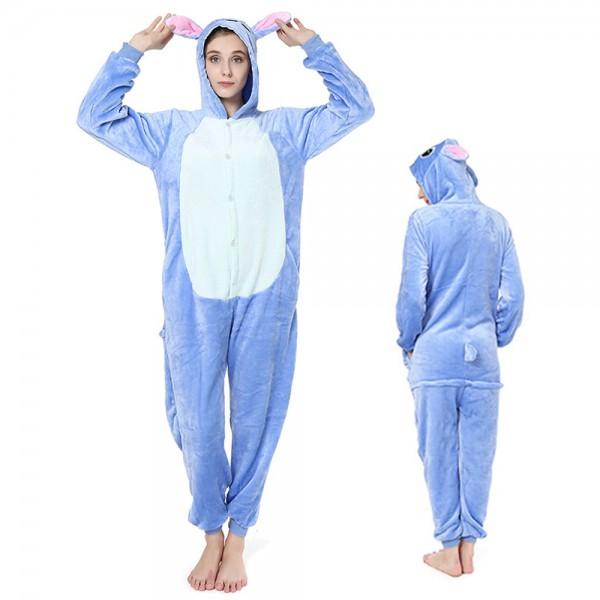 Stitch Onesie Costumes for Adult Animal Onesies Flannel Pajamas