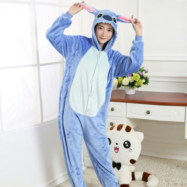 Stitch Onesie Costumes Adult Animal Onesies Flannel Pajamas
