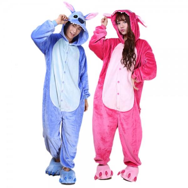 Stitch Onesie Costumes for Couples Animal Onesies Halloween Flannel Pajamas