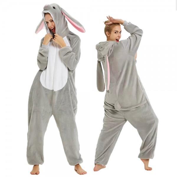 Bunny Onesie Flannel Pajamas Adult Animal Onesies Halloween Costumes