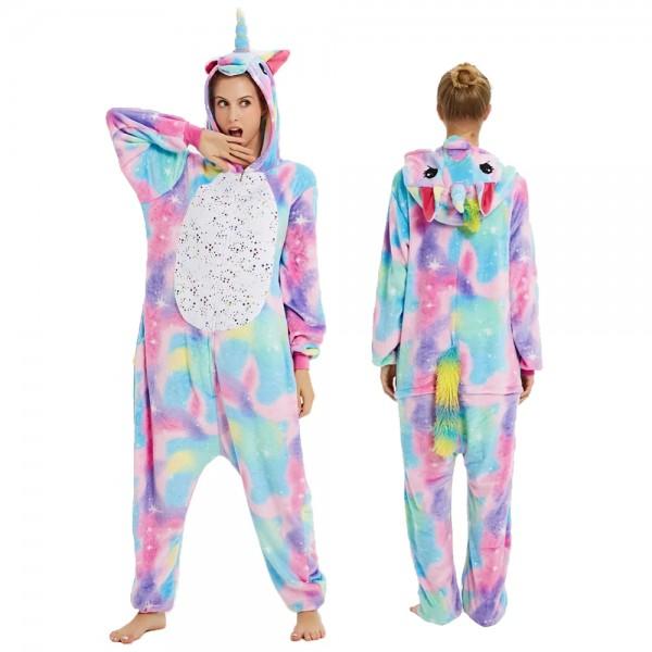 Colorful Phantom Unicorn Onesie Flannel Pajamas Adult Animal Onesies Halloween Costumes