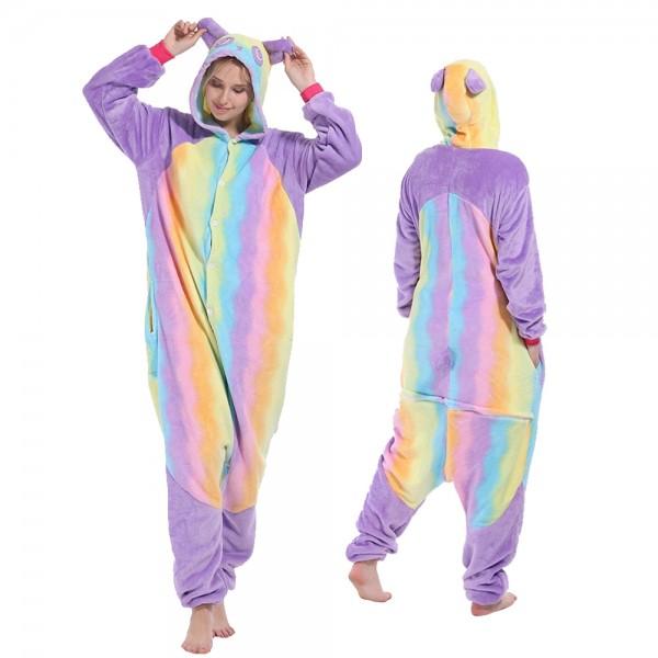 Rainbow Panda Onesie Flannel Pajamas Adult Animal Onesies Halloween Costumes