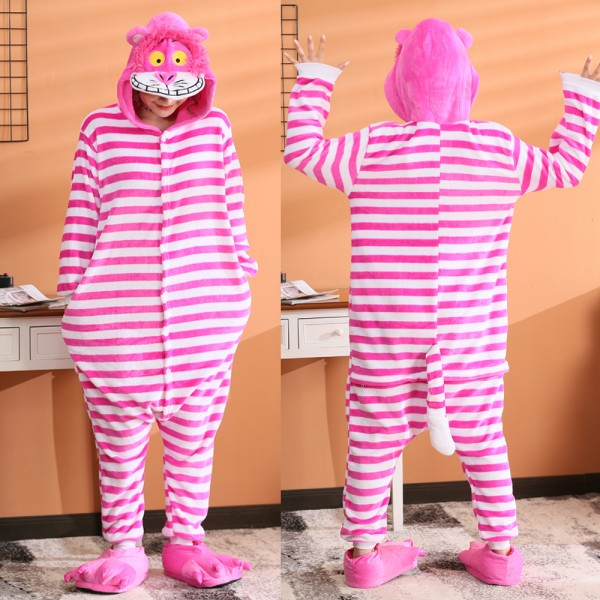 Cheshire Cat Onesie Flannel Pajamas Adult Animal Onesies Halloween Costumes