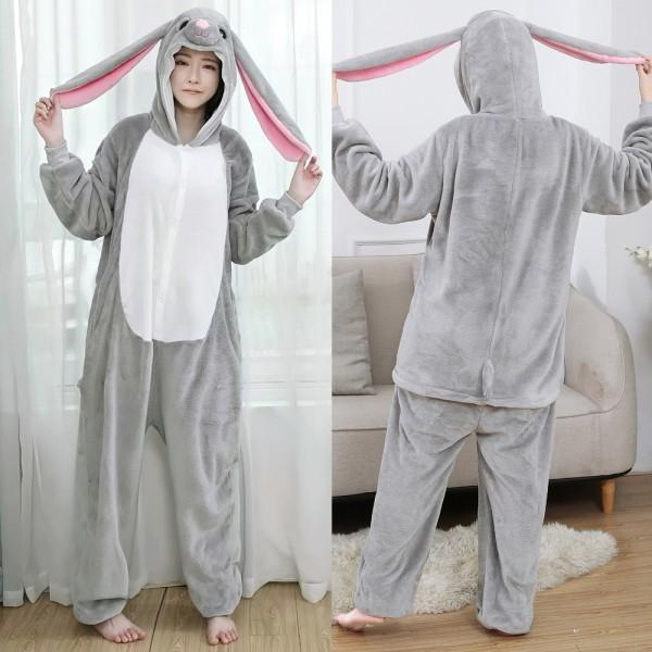 Grey Bunny Onesie Flannel Pajamas Adult Animal Onesies Halloween Costumes