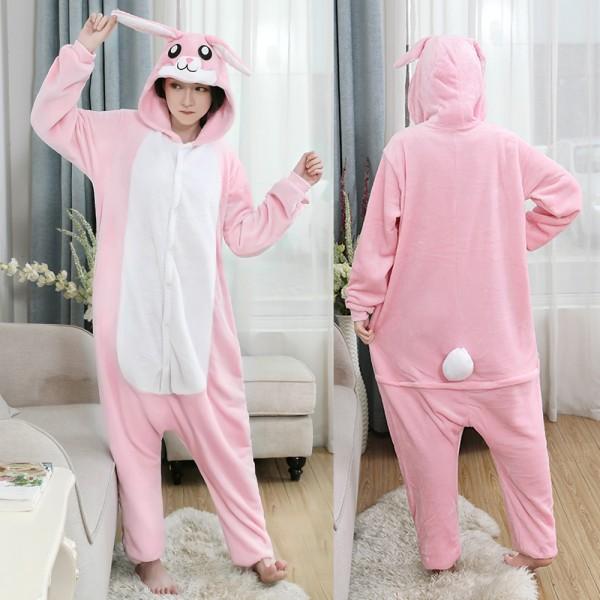 Pink Bunny Onesie Flannel Pajamas Adult Animal Onesies Halloween Costumes