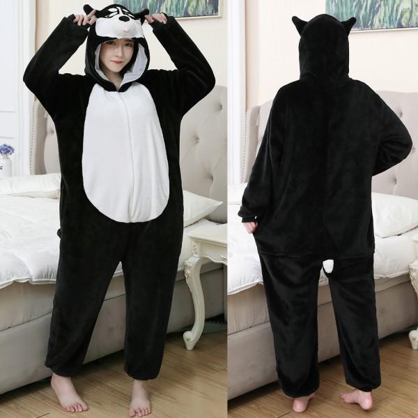 Black Husky Onesie Flannel Pajamas Adult Animal Onesies Halloween Costumes