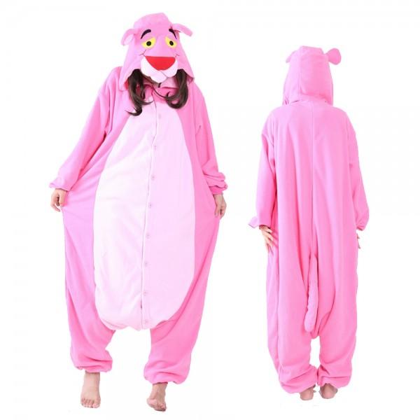 Pink Panther Onesie Pajamas Costumes Adult Animal Onesies Button Closure