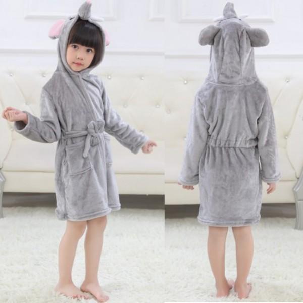 Grey Elephant Boys & Girls Animal Robes Hooded Bathrobe