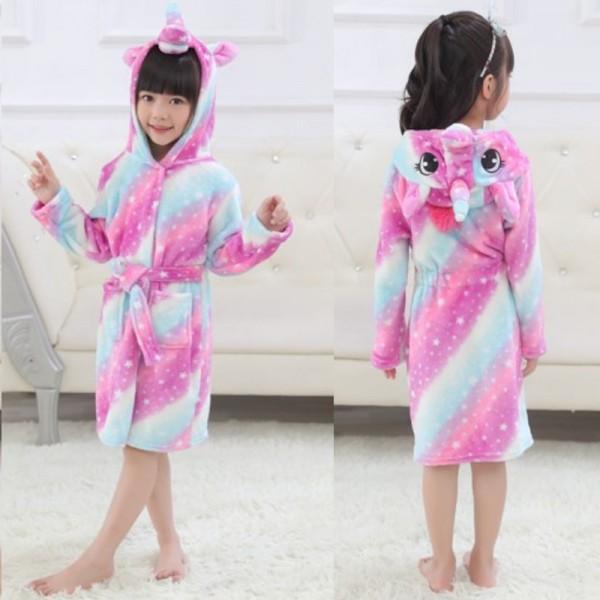 Purple Dream Unicorn Boys & Girls Animal Robes Hooded Bathrobe