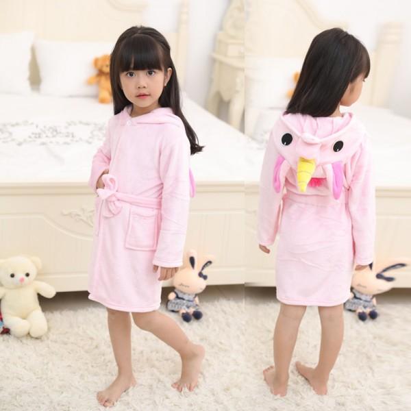 Pink Unicorn Robe Animal Robes Hooded Bathrobe for Kids
