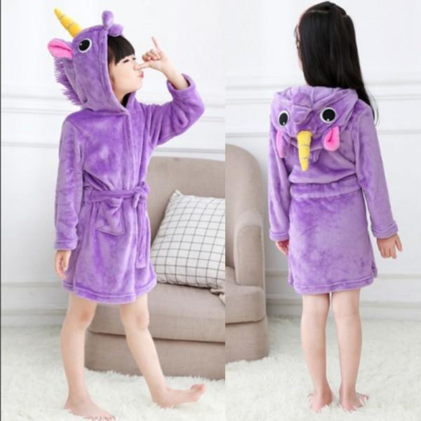 Purple Unicorn Robe Animal Robes Hooded Bathrobe for Kids