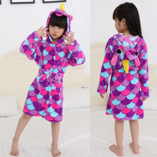 Purple Scale Unicorn Robe Animal Robes Hooded Bathrobe for Kids